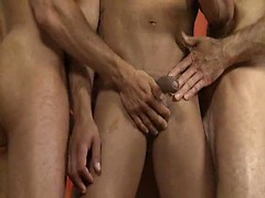Three muscle men jacking off