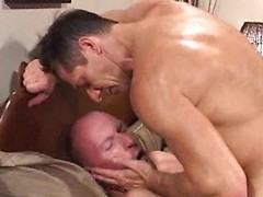 Brit man rules two dude in this threeway video