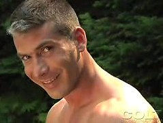 Sexy dad jacking off in wild forest