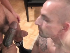 Threesome gay bareback