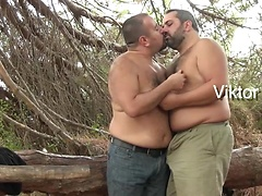 Three furry bears Marko Bulto, Viktor Karmen and Fran BJ enjoy fucking outdoors