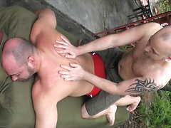 After an intense workout Tyler Reed needed a good massage by his outdoor pool