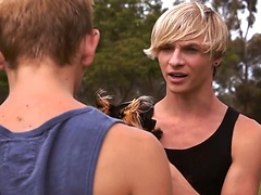 Blond boys Dylan Hall and Jessie Montgomery