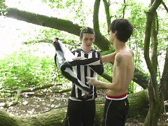 Football forest fun gets two brit boys out of their kits & into hot raw suck-&-fuck action! HD