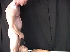 An insatiable dildo pig is worked over by two tops who also fill his mouth with their hot liquids. He is then gets to...