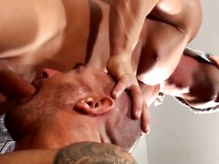 Straight muscle-god Antonio Aguilera steps out onto his balcony and starts stroking his monster-thick cock as he ...