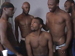 Intrigue is back in the ThugOrgy house and he's brought a whole crew of gangbangers ready for a brand new ass-...