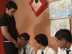 Cute twink students team up to blow their teacher