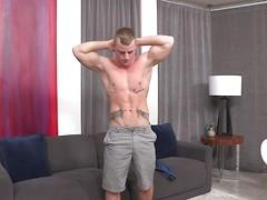 Strong Jake masturbates