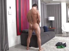 Brunette masturbates cock Marsele