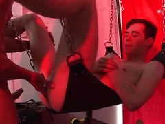 There's a good doggy! Leashed young twink gets to know his place in a sling-fuck frenzy