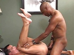 With 10 inches, Rod Rockhard is the cock king in this video. Mark Mann (who is hung big himself) is happy to worship ...