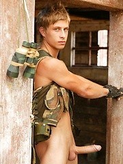 Military jock Jack Harrer shows his long dick - Gay porn pics at GayStick.com