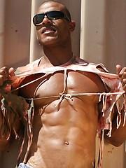 Alex Castro shows off his jock butt outdoors - Gay porn pics at GayStick.com