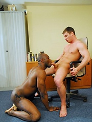 White stud Rick and black hunk Tyson slap their big dicks around - Gay porn pics at GayStick.com