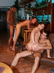 Four young man orgy in the bar area - Gay porn pics at GayStick.com