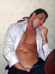 Marcello smoking cigars and stroking hot - Gay porn pics at Gaystick