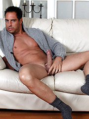 Gorgeous Marcello strips out of his jeans and plays with his big dick - Gay porn pics at GayStick.com