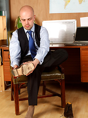 Horny guy plays with his hard cock before a job interview - Gay porn pics at GayStick.com