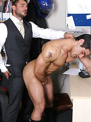 Muscled buddies in suits play in office - Gay porn pics at GayStick.com