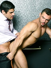 Two lovely office workers fucking after hard work day - Gay porn pics at GayStick.com
