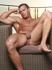 Straight muscle hunk before camera
