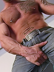 Hairy hunk presents his dick - Gay porn pics at GayStick.com