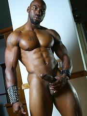 Bald ebony guy shows his stong muscles - Gay porn pics at GayStick.com
