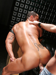 The well-built, bronzed body of Angelo Marconi is left to the mercy of well-hung stud Josh West - Gay porn pics at GayStick.com