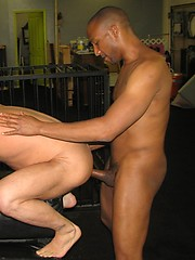 Guy locked in the cage and get fucked by raw ebony dude - Gay porn pics at GayStick.com