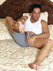 Marcello plays with his cock - Gay porn pics at GayStick.com