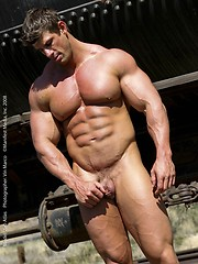 Muscle gay star Zeb Atlas posing for Manifest Gold site - Gay porn pics at GayStick.com