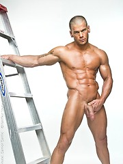 Oiled muscle bald guy Danilo posing naked - Gay porn pics at GayStick.com
