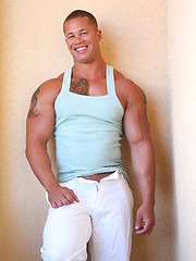 Muscle men with tattoed chest shows cock