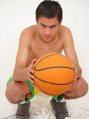 Sexy boy makes a three-point shot - Gay porn pics at GayStick.com
