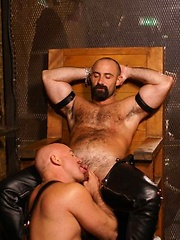 Favourite hairy hunk Butch Grand opens the show at the Hoist with a fellow thick dicked bear - Gay porn pics at GayStick.com