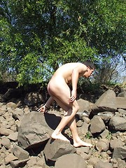 Sweet latino twink guy on a river side naked plays - Gay porn pics at GayStick.com
