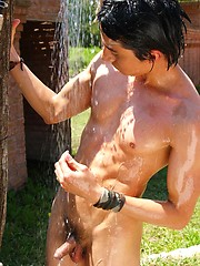 Wet twinks brandishing their hard-ons in the sun - Gay porn pics at GayStick.com