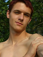 Redhead twink from Czech posing outdoors - Gay porn pics at GayStick.com