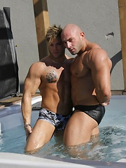 Sexy Jason Barker poses with his muscular friend - Gay porn pics at GayStick.com