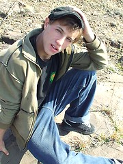 Handsome twink guy posing for the camera outdoors - Gay porn pics at GayStick.com