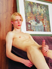 Blond twink Alexej shows his uncut cock and jacking off - Gay porn pics at GayStick.com