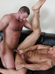While still getting fucked, John sprays his load onto his ripped, furry abs - Gay porn pics at GayStick.com