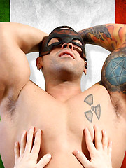 Huge dude in mask gets cock service from lucky sucker