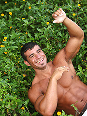 Naked latin guy Gustavo Levu showing his big muscled body - Gay porn pics at GayStick.com