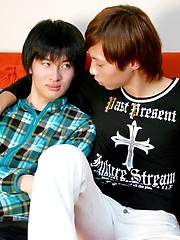 Tsuyoshi grabs his boyfriend and begins to kiss and rub him - Gay porn pics at GayStick.com