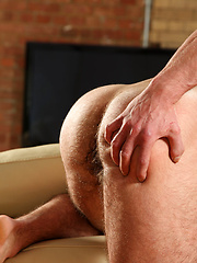 Straight hairy hunk has great body and a stunningly thick, heavy cock - Gay porn pics at GayStick.com