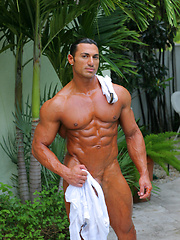 Handsome muscle star show off his huge, beautiful cock - Gay porn pics at GayStick.com