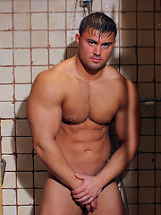 Spy on beefy muscle man Rocky Remington
