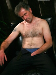 Mature man strokes dick and cums on own silver hairy chest - Gay porn pics at GayStick.com